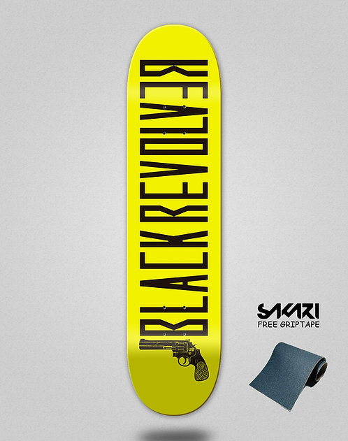 Black Revolver skate deck Color yellow black