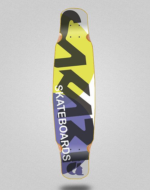 Sakari Fus yellow purple longboard deck dance 46x9
