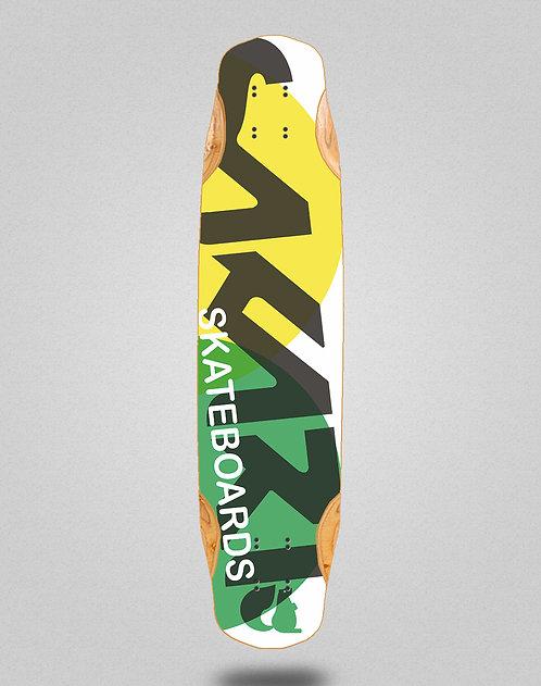 Sakari Fus yellow green longboard deck 38x8.45