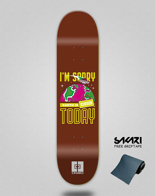 Cromic Covid Earth is closed brown skate deck