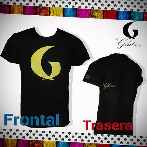 Glutier. surfskate T-shirt Black yellow