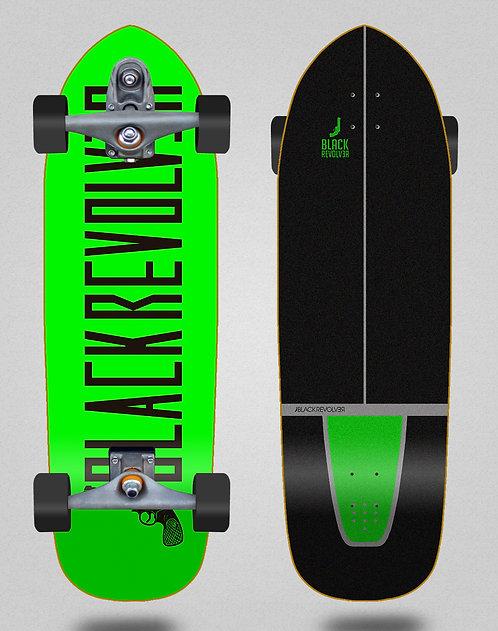 Black Revolver surfskate T12 trucks Color green black 33.5