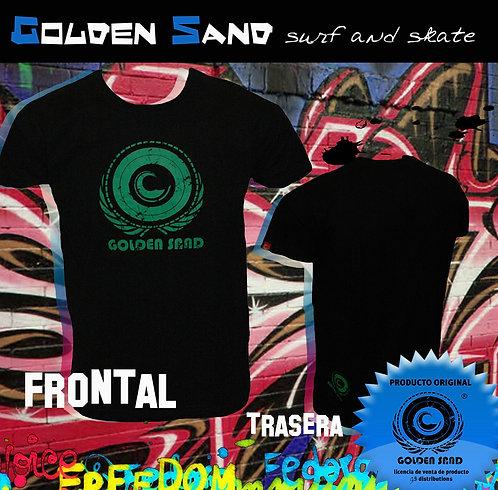 Camiseta surf skate Golden Sand. T-shirt King black green