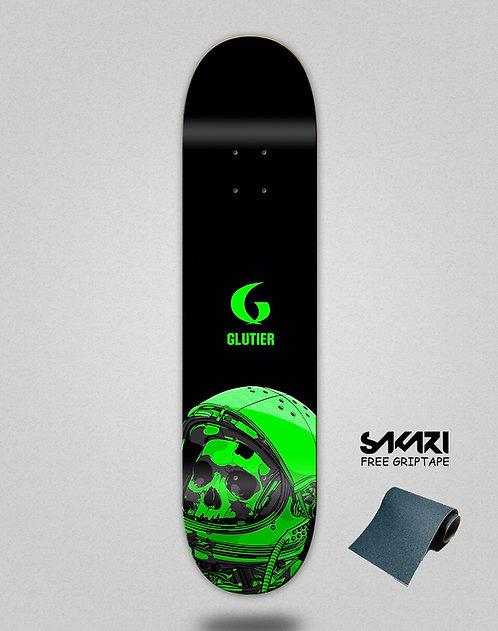 Glutier Space mirror green skate deck