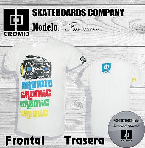Camiseta surf skate Cromic. T-shirt bodyboard white