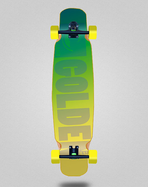 Golden Sand Degraded green yellow longboard dance complete 46x9