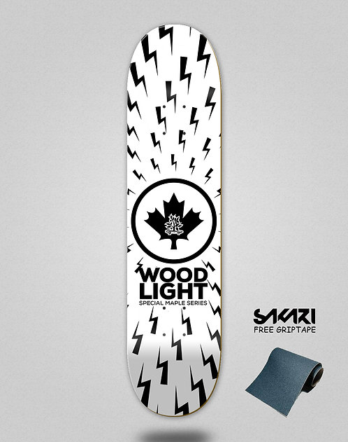 Wood light skate deck maple series thunders white