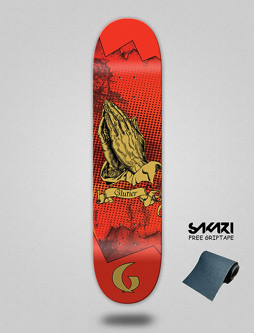 Glutier Miracle red skate deck