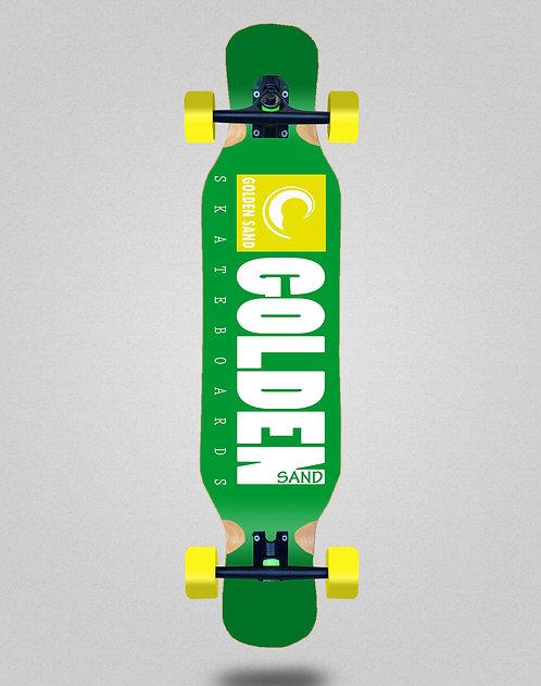 Golden Sand Icon green white longboard deck 46x10