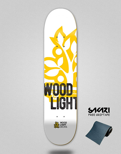 Wood light skate deck Graphic bass white