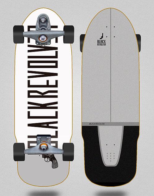 Black Revolver surfskate T12 trucks Color white 32