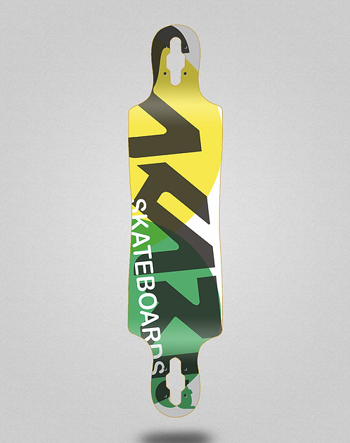 Sakari Fus yellow green longboard deck 40x9