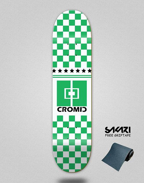 Cromic Squares green white skate deck