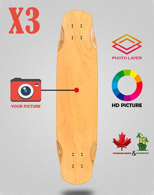 Personalizador longboard deck 38x8.45 X3 unidades