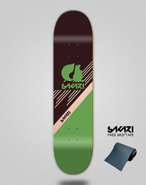 Sakari Vin art green skate deck
