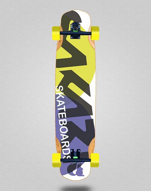 Sakari Fus yellow purple longboard complete 38x8.45