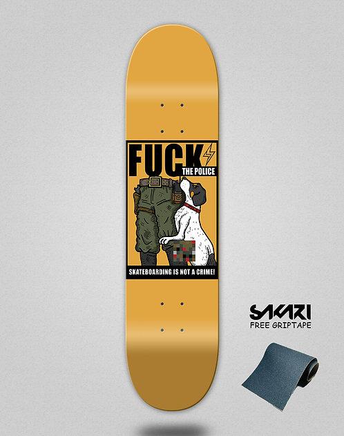 Skate shok deck fck the police orange