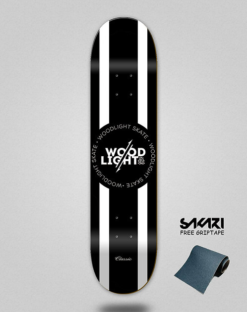 Wood light skate deck Classic blk wht lines