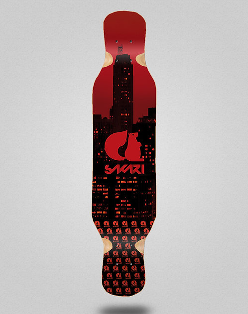 Sakari City red longboard deck 46x10