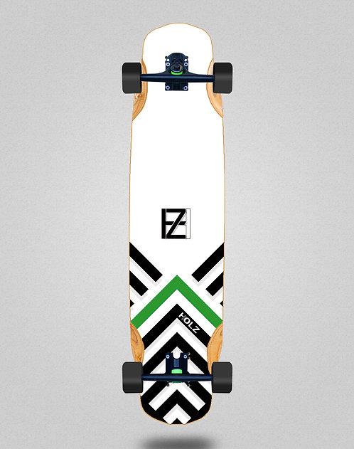 Holz Gram BW Akira white longboard complete 38x8.45