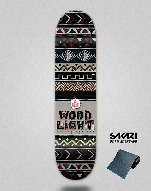 Wood light skate deck Serape dark