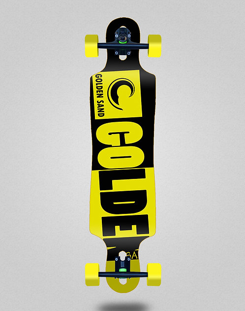 Golden Sand Degraded tone black yellow longboard complete 40x9