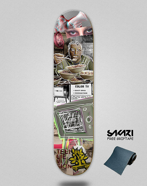 Wood light skate deck Collage micro food