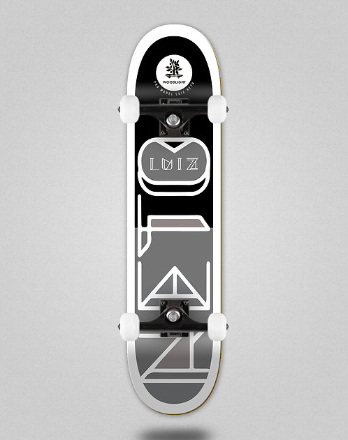 Wood light Luiz Neto flag black grey skate complete