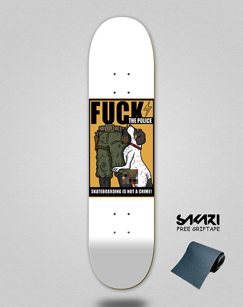Skate shok deck fck the police white