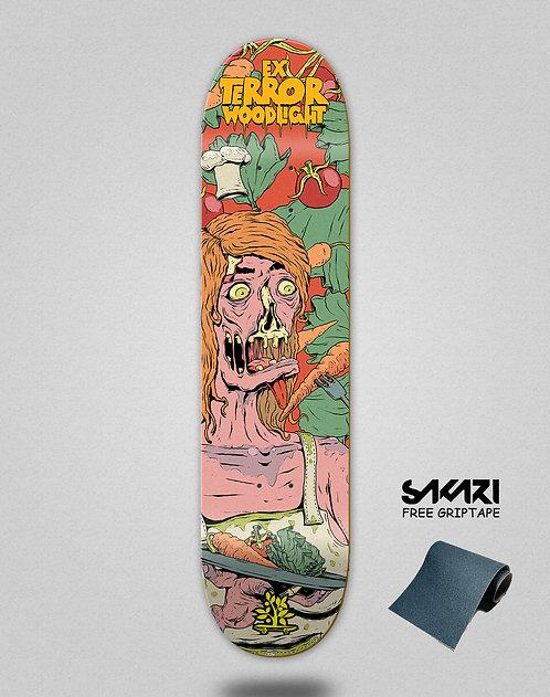 Wood light skate deck Ex terror zombie