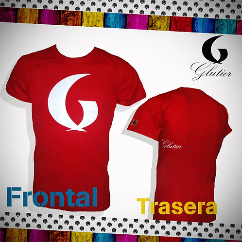 Glutier. surfskate T-shirt red white