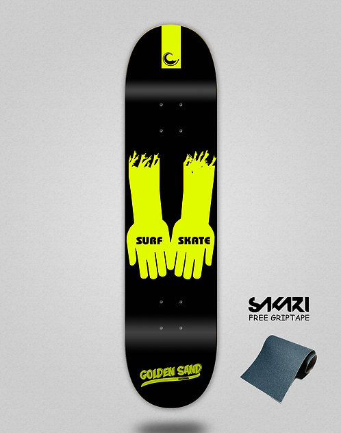 Golden Sand Surf skate hands blk yell skate deck