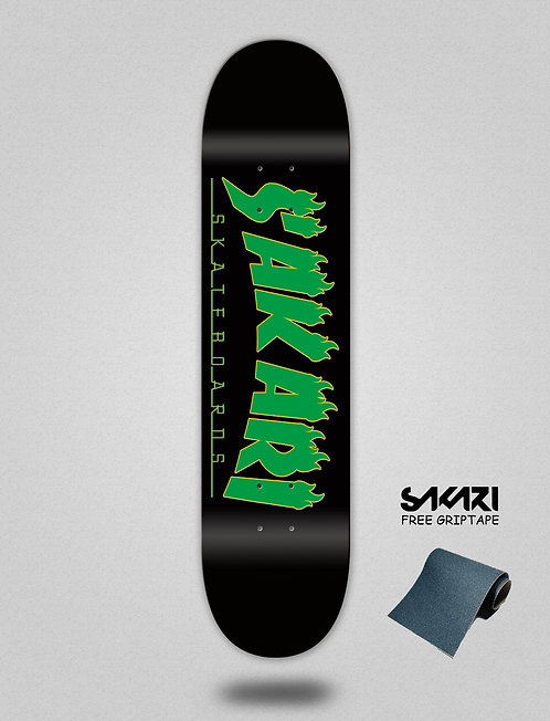 Sakari Fire green skate deck
