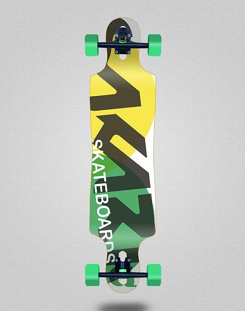 Sakari Fus yellow green longboard complete 40x9