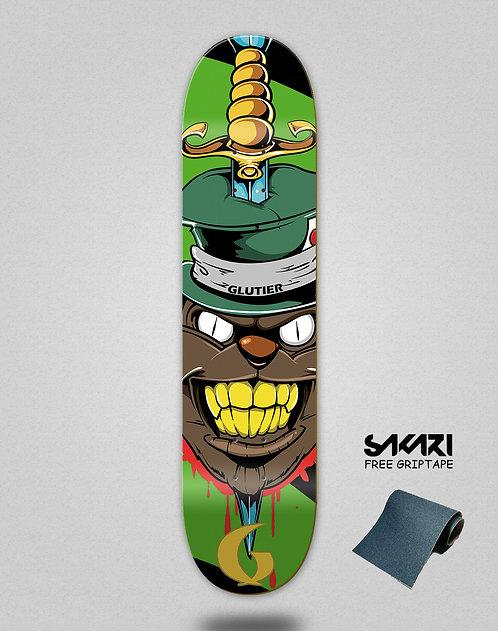 Glutier Gr cat green skate deck