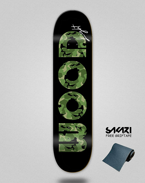 Wood light skate deck Camo icon black green