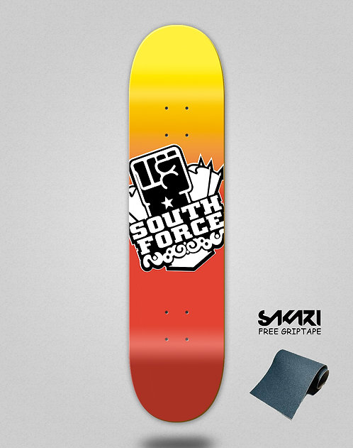 South force skate deck Icon degraded fire