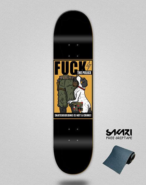 Skate shok deck fck the police black
