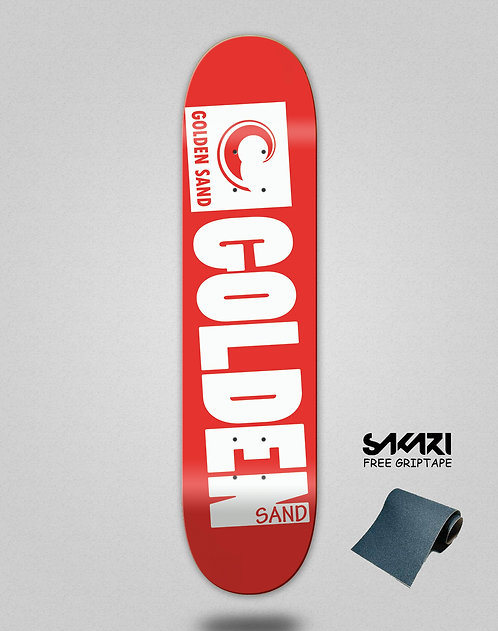 Golden Sand Degraded red white skate deck