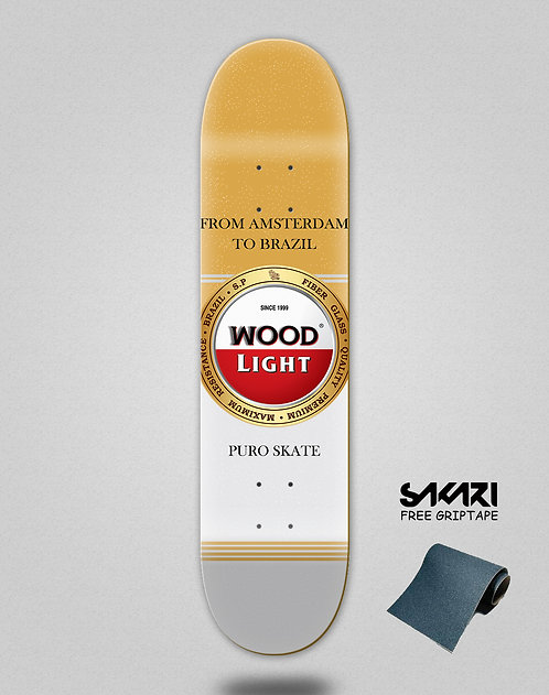 Wood light skate deck Cheers golden