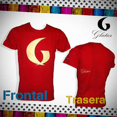 Glutier. surfskate T-shirt red yellow