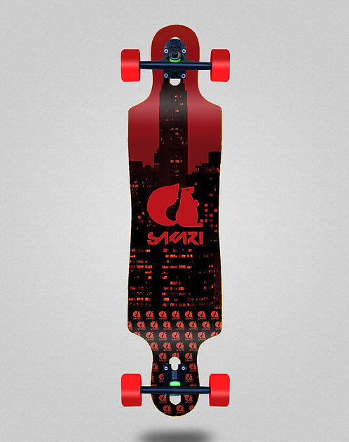 Sakari City red longboard complete 40x9