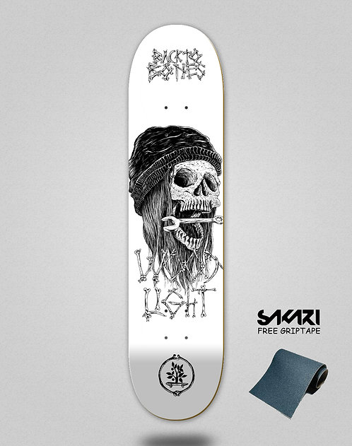 Wood light skate deck Back to bones Ortiz white