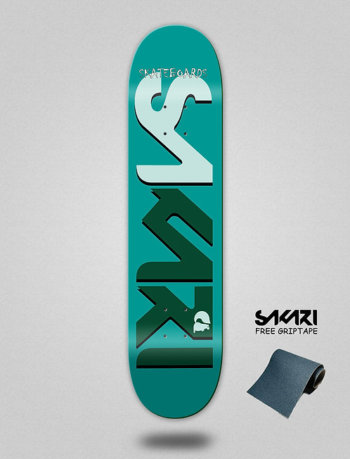 Sakari Logo blue green skate deck