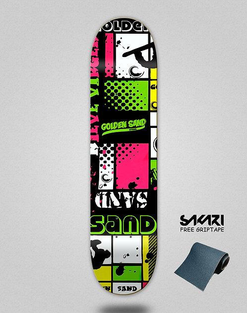 Golden Sand Snow full green skate deck