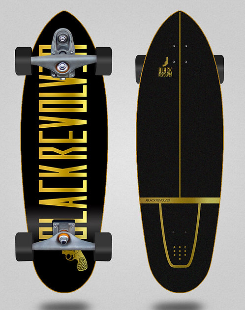Black Revolver surfskate T12 trucks Color black gold 32.5