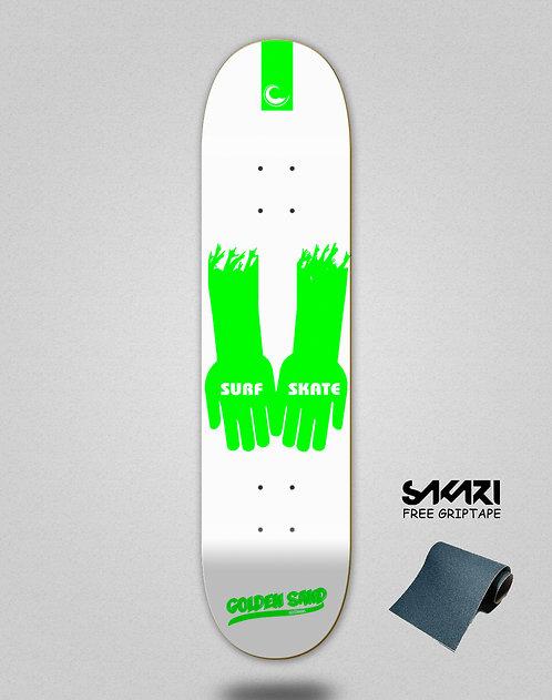 Golden Sand Surf skate hands wht green skate deck