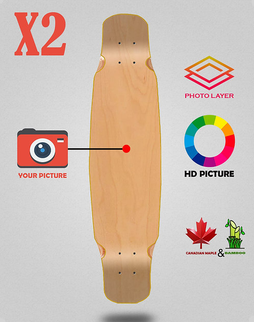 Personalizador longboard deck mix bamboo 46x9 X2 unidades