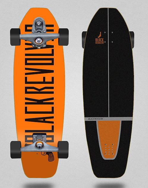 Black Revolver surfskate T12 trucks Color orange 31.5