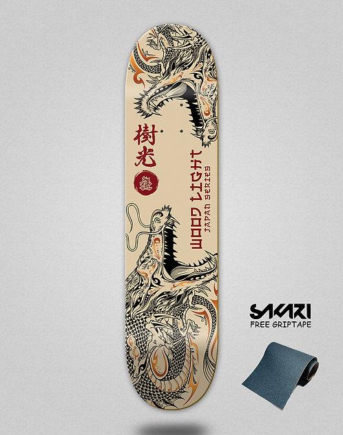 Wood light skate deck Japan series dragons